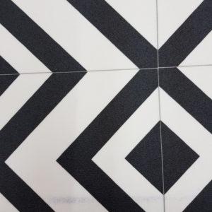 פי וי סי וינטאז' דמוי ריצוף מעויינים שחור לבן