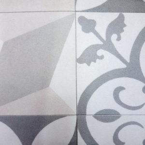 פי וי סי וינטאז' פרחים וסמלים אפור דמוי ריצוף